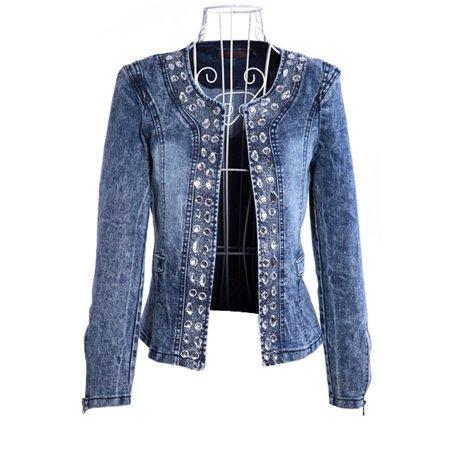 Women Juniors Premium Denim Jackets Long Sleeve Jean Coats Ladies Washed Sequins Jackets Coat Outwear