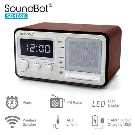 SoundBot Dual Alarm Clock FM Radio Bluetooth Wireless Portable Speaker 3W Output, 1A USB Charging Port, 30 Preset Station, 12/24 Hour Mode Acoustic Premium Driver Hi/Low Dimmer, 3.5mm Aux Port