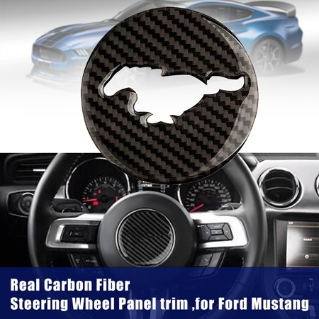 Brand New Carbon Fiber Steering Wheel Decor Trim Sticker Cover Cap For Ford Mustang 15-17 Carbon Fiber Gas Cap