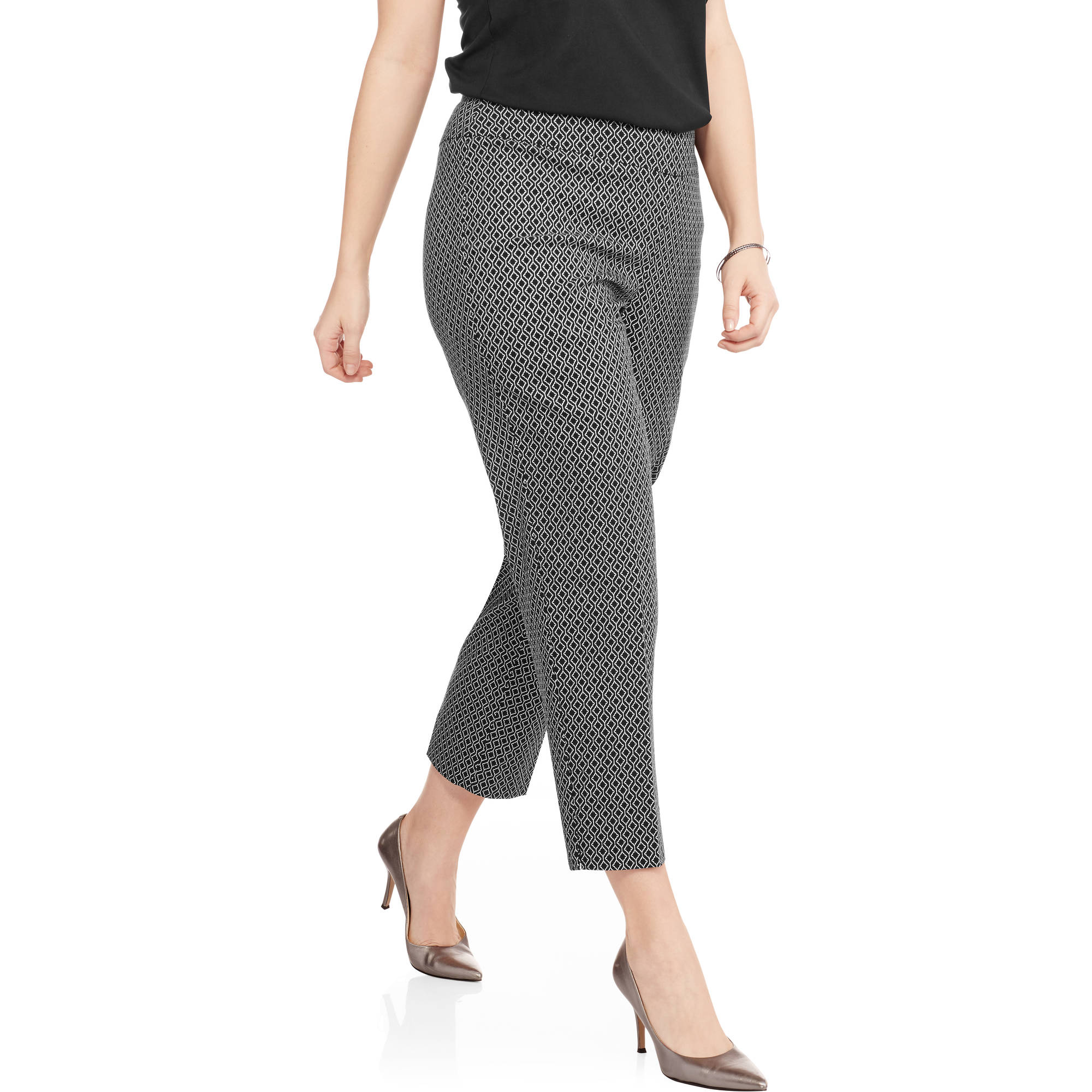 Lifestyle Attitude Women's Plus Geometric Print Pull on Ankle Pant