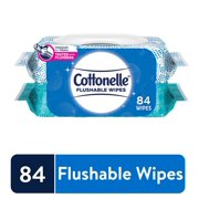 Cottonelle Flushable Wet Wipes, 2 Flip-Top Packs, 42 Wipes per Pack (84 Wipes Total)