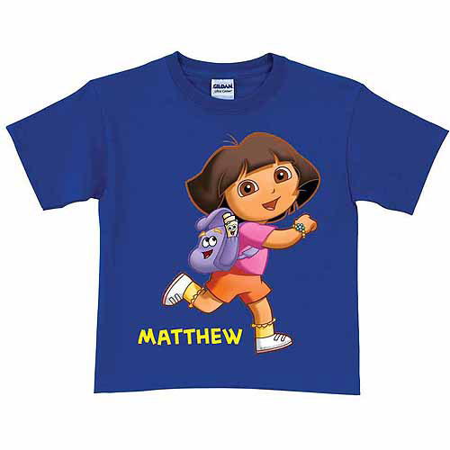 Personalized Dora the Explorer Running Toddler Girl T-Shirt, Royal Blue