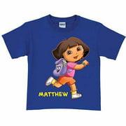 Personalized Dora the Explorer Running Toddler Girl T-Shirt, Royal Blue