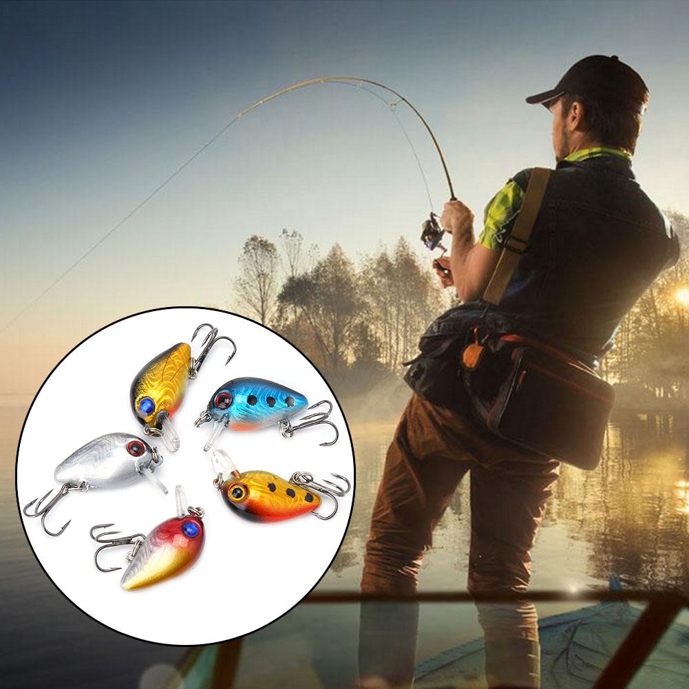 5pcs 3cm 3D Holographic Eyes Mini Fishing Lures Floating Micro Bass Bait Crankbait Treble Hook, micro bass bait,... by