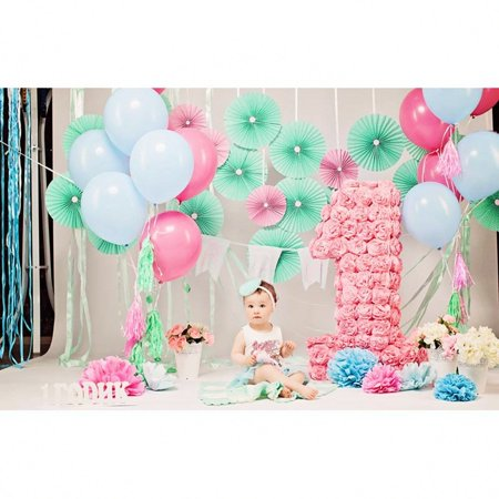 GreenDecor Polyester Fabric Photography Background 5x7ft Pink Photography Backdrop Newborn 1st Birthday Photo Backdrop for Party Paper Flowers Backdrops for Girls - Paper Photo Backdrops