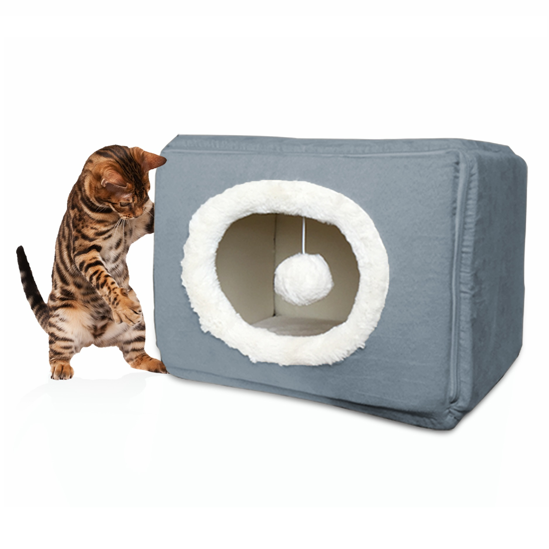 FurHaven Cozy Cube Cat or Small Dog Bed Pet Bed