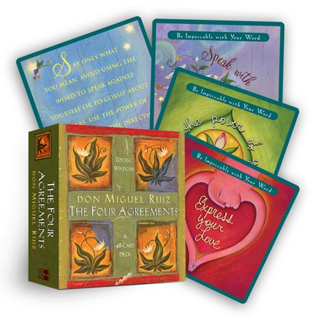 Four Agreements Cards Based on don Miguel Ruiz's New York Times bestselling book, The Four Agreements, the 48 cards in this deck provide a simple yet powerful code of conduct for attaining personal freedom and true happiness. There are 12 cards corresponding to each of the four agreements: (1) Be impeccable with your word; (2) Don't take anything personally; (3) Don't make assumptions; and (4) Always do your best. These cards will help you transform your life as you recover the awareness and wisdom of your authentic self!