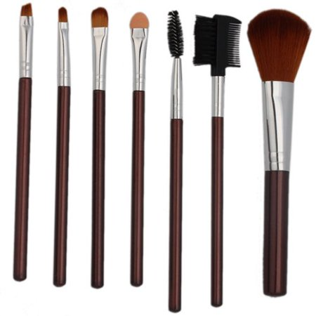 Fashion Makeup Brushes set 7Pcs Powder, Eyeshadow, Blush , Foundation , Blending , Eyeliner , Lip , Great for Highlighting UP Brush Brushes Set Kit with Silver Bag