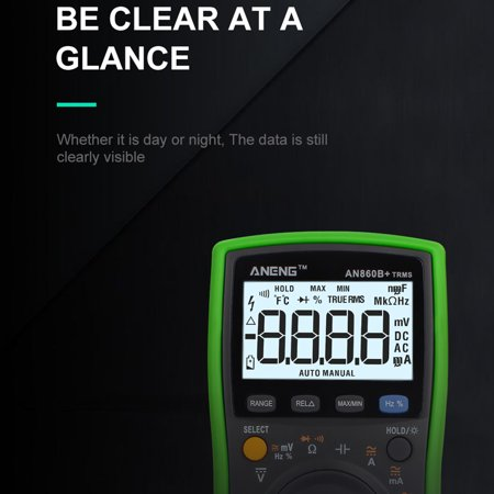 Ustyle Backlight Digital Multimeter AC/DC Current Voltage Resistance Frequency Temp Tester LCD 6000 Counters - image 8 of 9