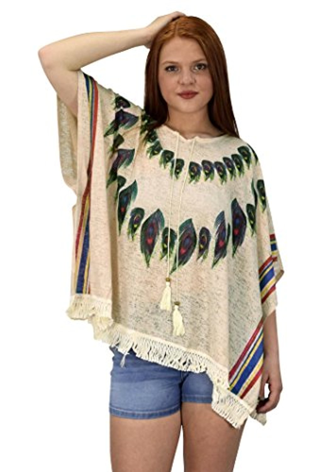 Click here to buy Peach Couture Womens Peacock Light weight Summer Poncho Cardigan Cover Up Beige by Overstock.