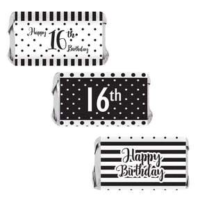 16th Birthday Candy Wrappers, 54 count - Sweet 16 Black and White Stripe and Polka Dot Birthday Party Supplies - 54 Count Happy Birthday Stickers (Sweet 16 Black And White Theme)