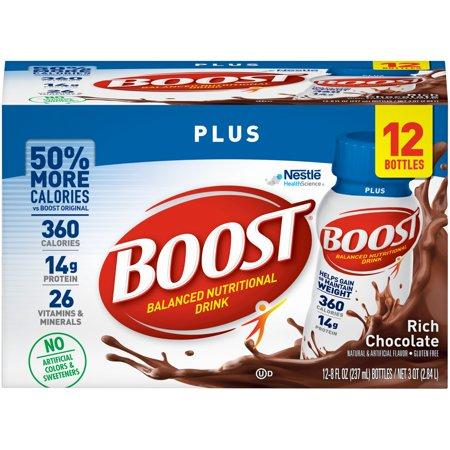 Boost Plus Nutritional Drink, Rich Chocolate, 14g Protein, 8 Fl Oz, 12 Ct Boost Plus Drink Case