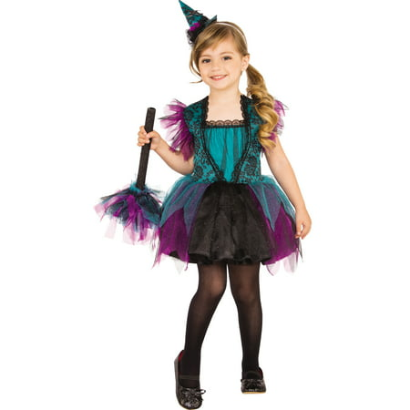 Bewitching Witch Girl Child Purple Turquoise Halloween - Witch Girl Costume
