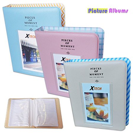 Fuji Photo Prints - Xtech 3 Colorful Photo Albums (Blue, Pink & Beige) for Fuji Fujifilm Instax Film and for Fuji Fujifilm Instax Mini 8, Instax Mini 8+, Instax Mini 7, and all Fuji Fujifilm Mini Instax Cameras