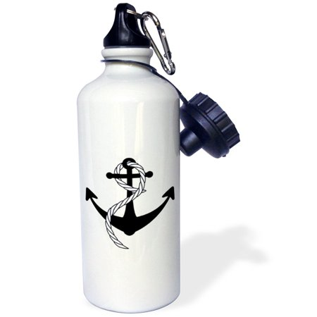 3dRose Large Anchor With Navy Blue Rope, Sports Water Bottle, 21oz