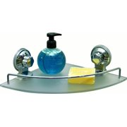 Bath Shower Caddy Frosted Corner Shelf with 2 Screw-Top Suction Cups Chrome
