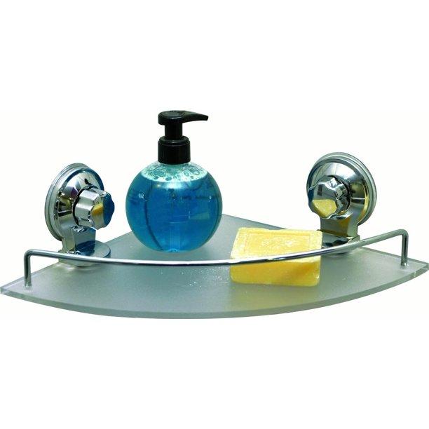 Bath Shower Caddy Frosted Corner Shelf, Bathroom Suction Shelf