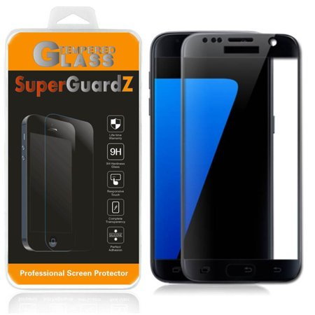 [2-Pack] For Samsung Galaxy S7 - SuperGuardZ [FULL COVER] Tempered Glass Screen Protector [Black], Edge-To-Edge Protect, (Best Tempered Glass Screen Protector S7 Edge)