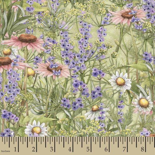 Springs Creative Flowering Herbs Flower Garden Fabric by the Yard