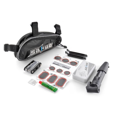 Bicycle Tire Repair Tools Set Bike Cycling Multifunction Cycle Maintenance Complete Kits Accessories with Patches Levers Pouch Glue Mini Portable Pump and Saddle Bag Black