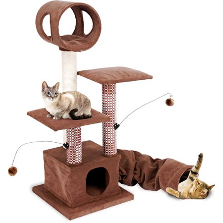 Penn-Plax - Cat Activity Lounging Tower & Tunnel w/Hideaway Retreat (Lounging Tower)