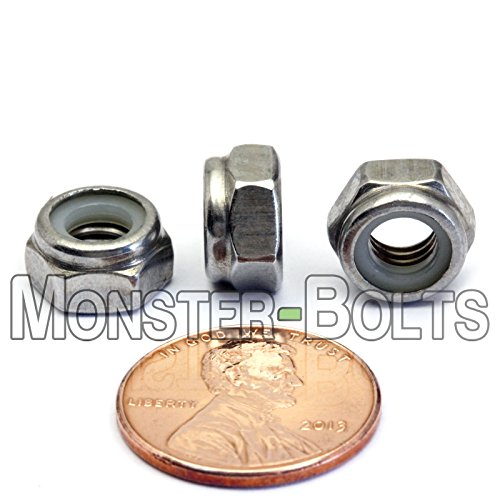 Aexit M6 x Nails Screws /& Fasteners 1mm 304 Stainless Steel Nylock Nylon Insert Hex Lock Nut /& Bolt Sets Nut 100PCS
