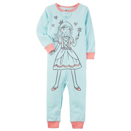 Carter's Baby Girls' 1-Piece Princess Snug Fit Cotton Footless PJs, 12 Months