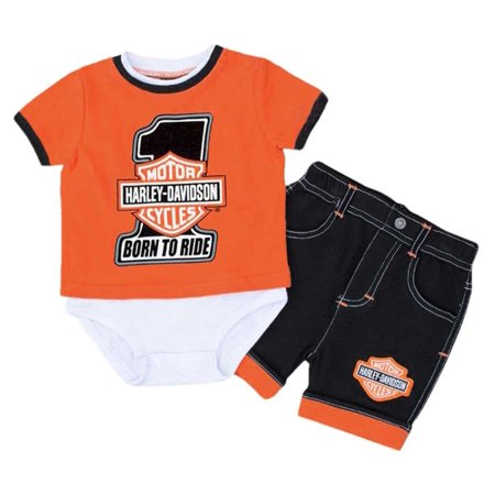 37455699c Harley-Davidson Baby Boys' #1 B&S Creeper w/ Shorts Newborn Set 3052517