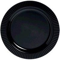 """amscan Jet Round Premium Plastic Plates, 7 1/2"""", Black"""