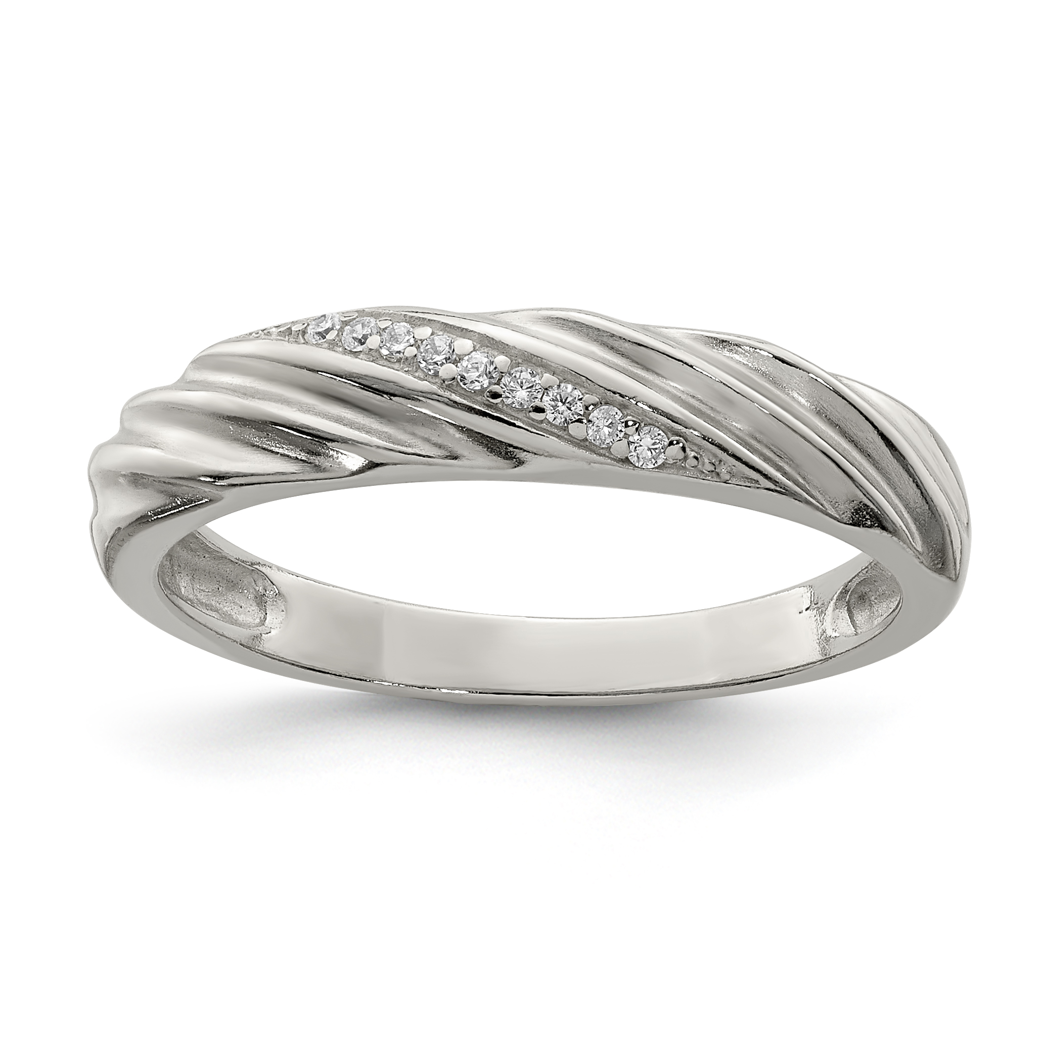 925 Sterling Silver Cubic Zirconia Cz Band Ring Size 7.00 Fine Jewelry Gifts For Women For Her - image 3 of 3