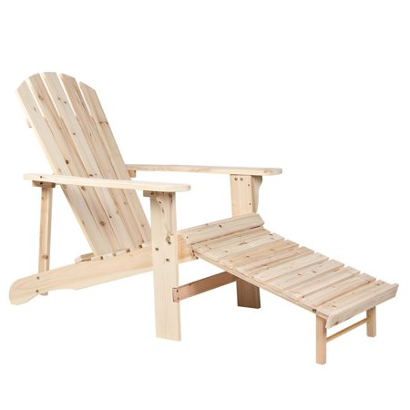Natural Wooden Adirondack Chair With Adjustable Footstool For Garden And Patio