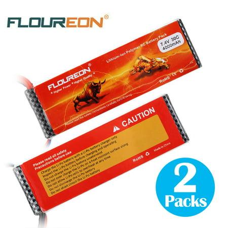 Floureon 2S1P 7.4V 4000mAh 30C LiPo Battery for RC Car Airplane Evader Hobby 2Packs ()