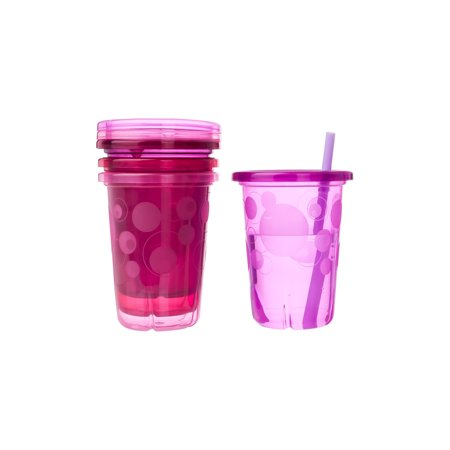 The First Years Take & Toss Spill-Proof Straw Cups, Pink, 4 Pk
