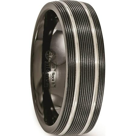 Edward Mirell Titanium Black Ti Textured Lines 7mm Band - image 1 de 6