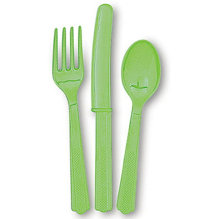 Unique Silverware ((3 Pack) Unique Industries Assorted Plastic Silverware for 8, Lime Green,)