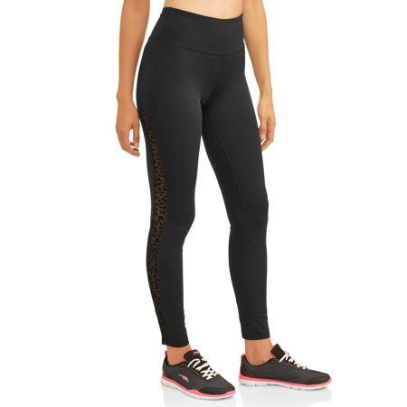 Women's Activewear Mesh Leopard Print Side Stripe Legging