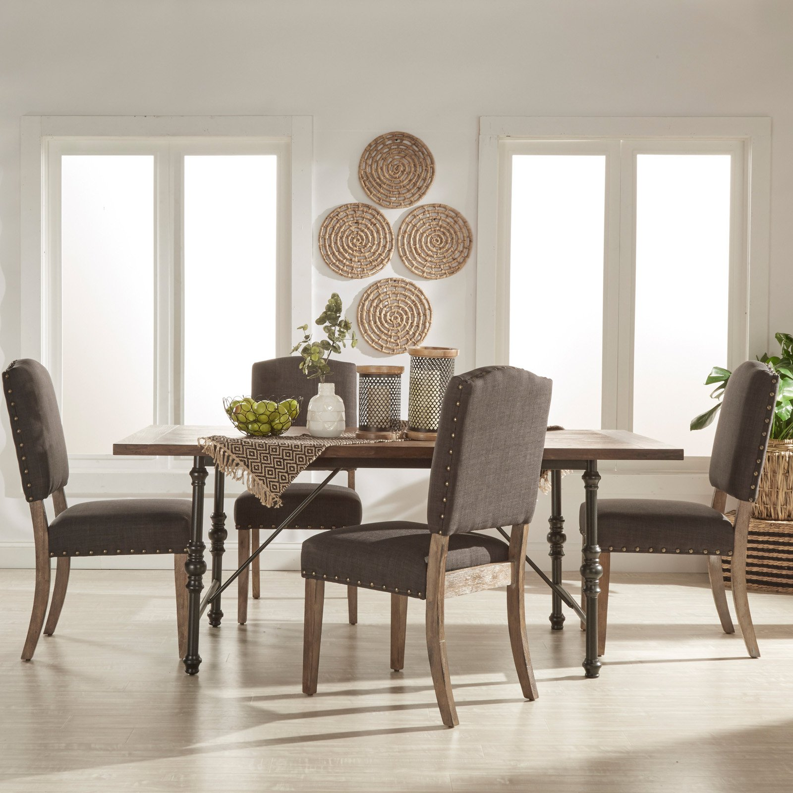 Weston Home 5 Piece Industrial Dining Set with Dark Gray Chairs