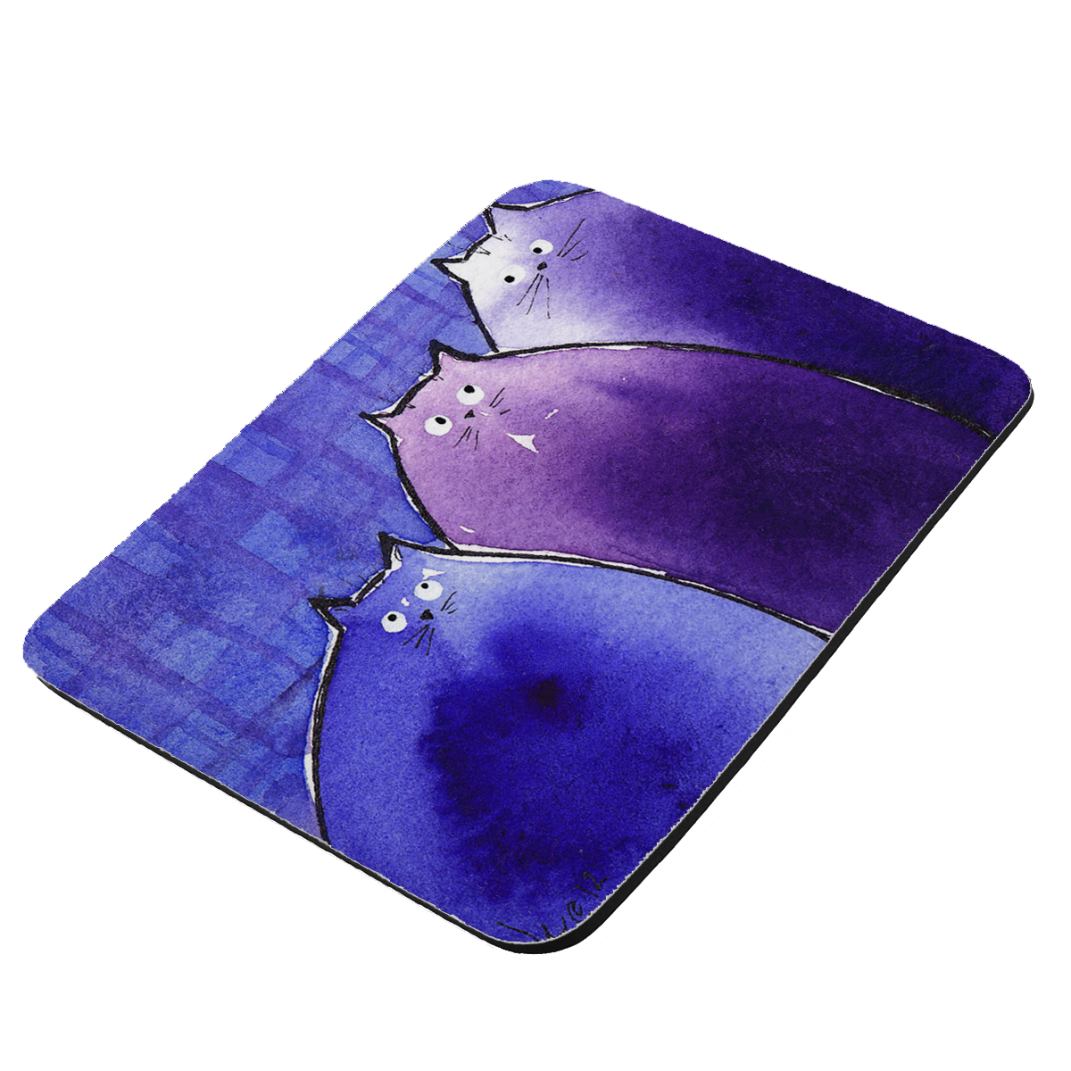 Blue and Purple Chunky Kitties Abstract Cat Art by Denise Every - KuzmarK Mousepad / Hot Pad / Trivet