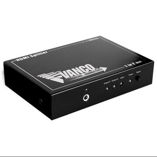 Vanco HDMI Splitter - 1 x HDMI Type A Digital Audio/Video In, 2 x HDMI Type A Digital Audio/Video Out, 1 x Mini-phone IR Input