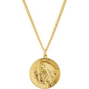 - 24K Gold Plated Sterling Silver 25mm St. Christopher Medal 24