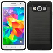 Galaxy S4 Case, Slim Hybrid Dual Layered [Shock Resistant] Case Cover for Samsung Galaxy S4 - Brush Black