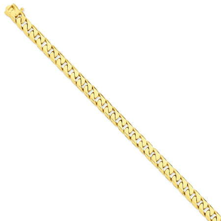 14K Yellow Gold 7.8mm Hand-polished Flat Beveled Curb Chain - image 2 de 2