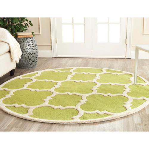 Safavieh Handmade Moroccan Cambridge Green/ Ivory Wool Rug (6' Round)