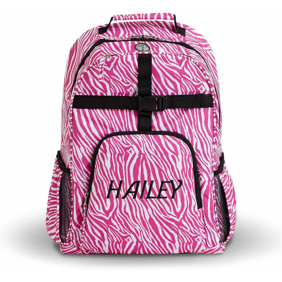 Personalized Playful Print Backpack, Zebra, Name