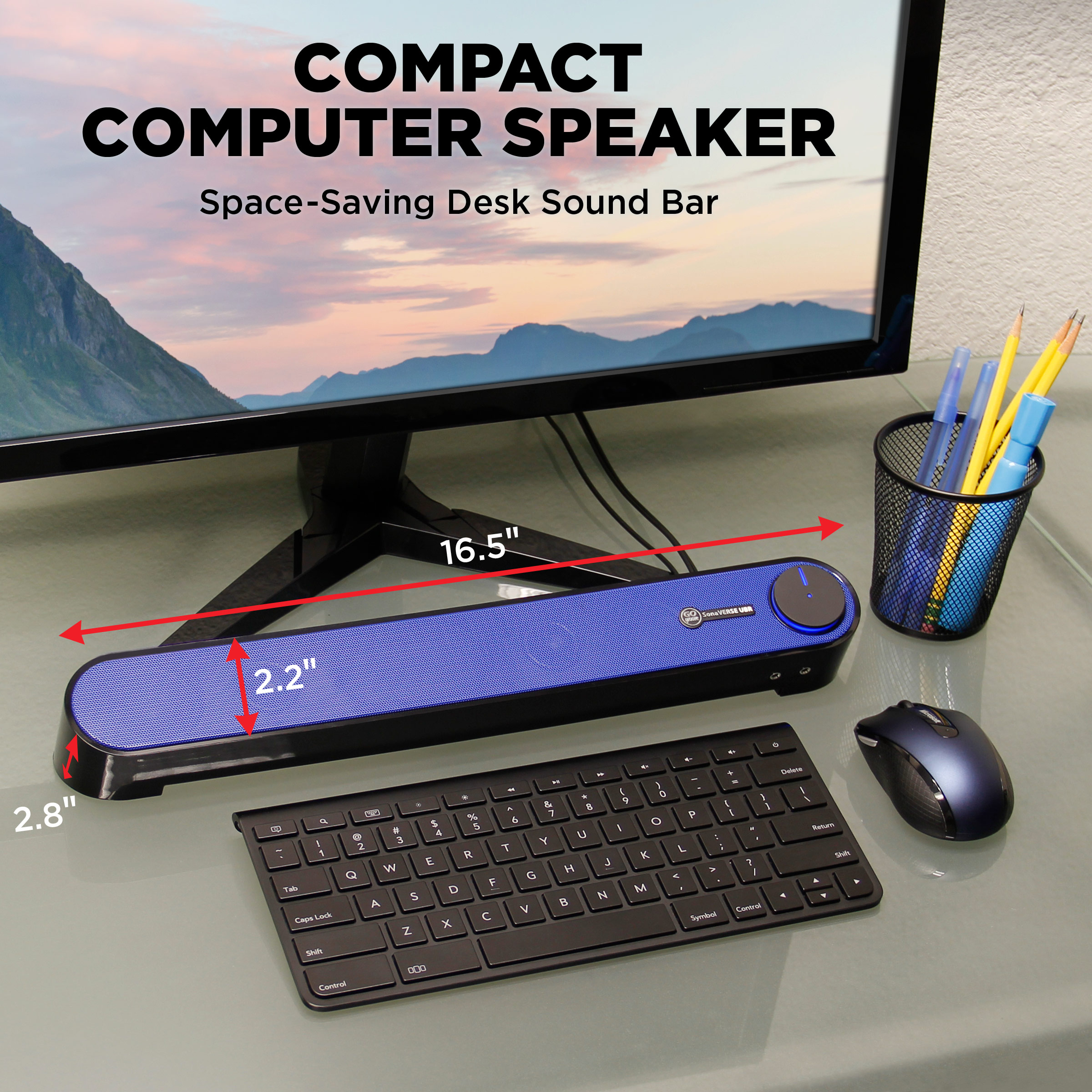 SonaVERSE UBR Desktop Computer GOgroove USB Computer Speakers Mini Soundbar
