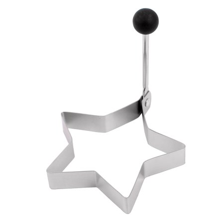 Stainless Steel Folding Handle Star Shaped Frying Egg Mold Ring Silver Tone - Star Shaped