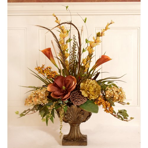 Bon Fleur De Lis Living Silk Flower Floral Arrangement In Decorative Vase
