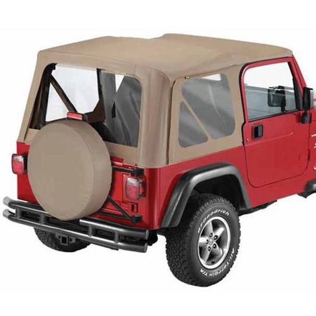 - Bestop 51127-33 Jeep Wrangler Replace-A-Top Fabric Top with Clear Windows, Dark Tan