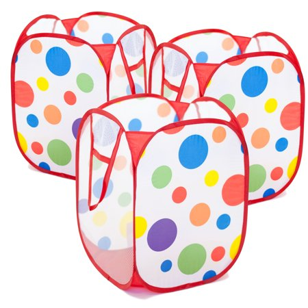 EWONDERWORLD Polka Dot Print Kids Pop Up Toy Storage and Laundry Hamper - Set of 3 ()