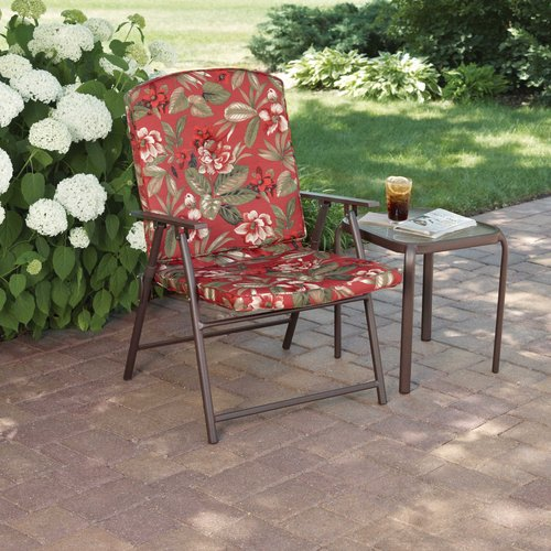 Mainstays Padded Fab Folding Chair, Red Floral